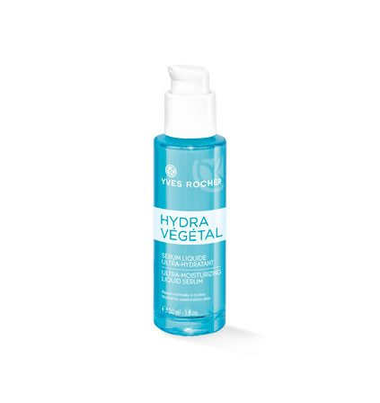 Yves Rocher HYDRA VÉGÉTAL ultra-feuchtigkeitsspendendes Serum, konzentriertes Feuchtigkeitsserum für das Gesicht, 1 x Pump-Flacon 30 ml