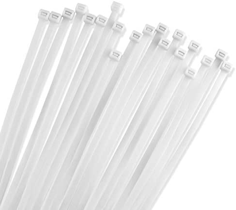 24 Inch White Zip Heavy Duty Cable Ties 50 Pack 175lb Strength Nylon Wire Ties By Bolt Dropper product image