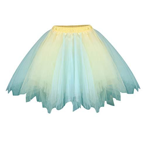 Meclelin Tüllrock Petticoat Kurz Tutu Retro Unterrock Ballet Tanzkleid Minirock Damenrock Rüschen Geschichteten Regenbogen Rock