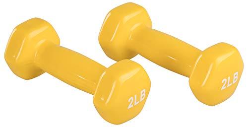 AmazonBasics Vinyl 2 Pound Dumbbells - Set of 2, Yellow
