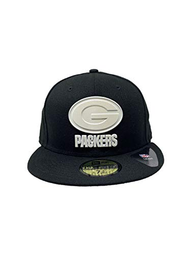 New Era Herren Caps/Fitted Cap NFL On Field Green Bay Packers 59Fifty Gr. 7.875, Schwarzes, poliertes Stück
