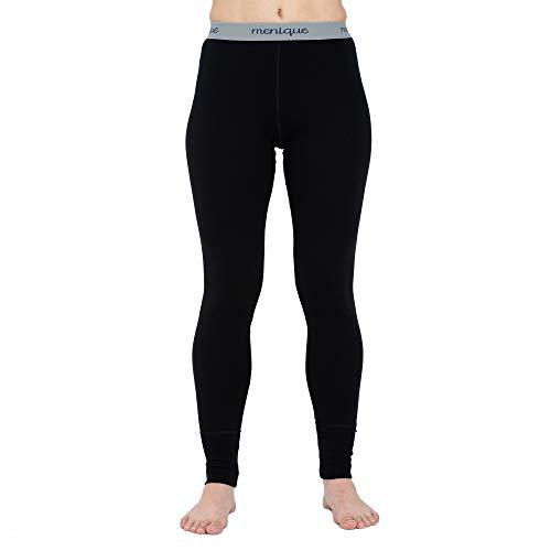 menique Damen Leggings für Gym & Yoga Midweight Merino Wool Base Layer mit Bund Gr. XL, Schwarz