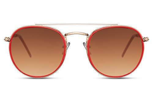 Cheapass Gafas de sol Rojoondas Doradas Metálicas Borde Rojo Marrones Lentes Marrones Lisas Puente Doble con protección UV400 Hombres Mujeres