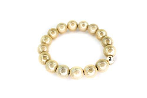 magiclaze ® Armband, champagner farben, 12 mm Perlen, creme, incl. GRATIS Tailermade Armband, Karte und Schmuckbeutel