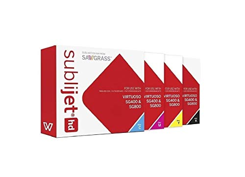 SUBLIJET HD Ink Cartridges for Sawgrass Virtuoso SG400/SG800 - COMPLETE SET (CMYK) - WITH 110 SHEETS OF SUBLIMATION PAPER (Made in Japan) Eventprinters brand.