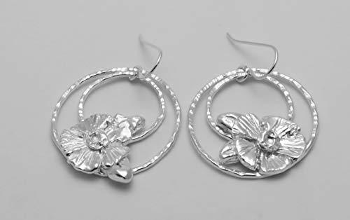 Flower Teardrop Argentium Sterling silver Hoop dangle earrings