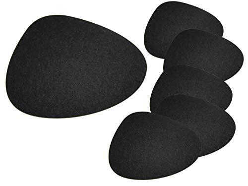 Bada Bing 6er Set Tischset Stone Filz Optik ANTHRAZIT Untersetzer Platzmatte Unterlage Tisch Deko Trend 64