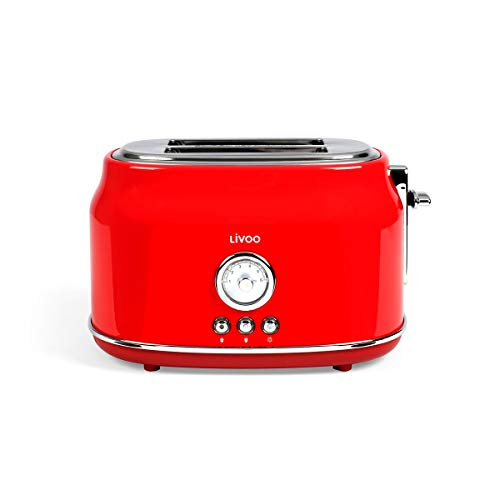 LIVOO Feel good moments - Grille-pains rétro 2 fentes DOD181 Rouge