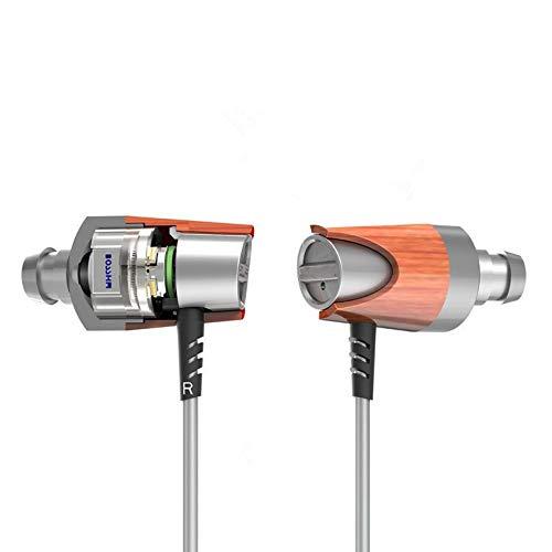 PJIAL In-ear ring ijzeren hoofdtelefoon houten kabel subwoofer stem kwaliteit sport running fitness k song game muziek