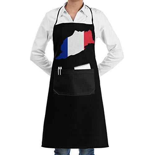 WH-CLA Delantal Mapa De Marruecos Francés Pintura De Patrón Unisex Delantal Ajustable con Pechera para Mujer Delantal De Chef para Hombre Delantal De Cocina Personalizar Delantal De Coci