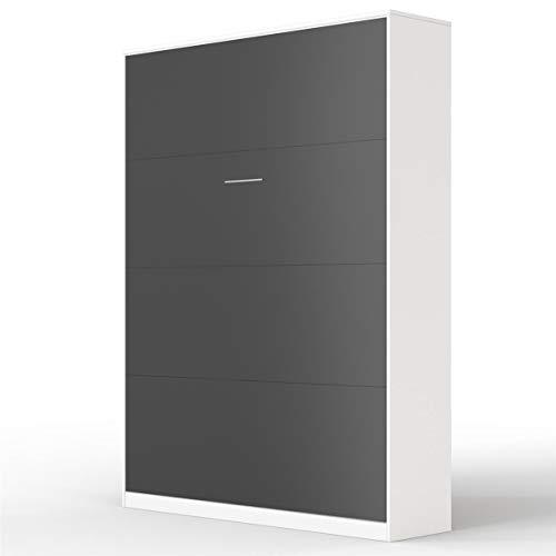 SMARTBett Basic Cama abatible Cama Plegable Cama de Pared (Blanco/Antracita, 140x200 cm Vertikal)