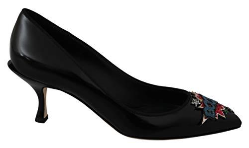 Dolce & Gabbana Donna décolleté Lori in Vitello Lucido Nero con Ricamo Boom. Tacco 6 cm Color Nero Size 37