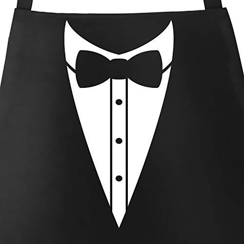 MoonWorks® Grill-Schürze für Männer Grillschürze Smoking Suit Anzug Fliege lustig Baumwoll-Schürze Küchenschürze schwarz Unisize