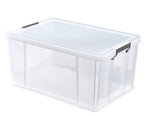 WhitefurzeScatola Contenitore con Morsetto Argentato, plastica, Naturale, 70 Litri