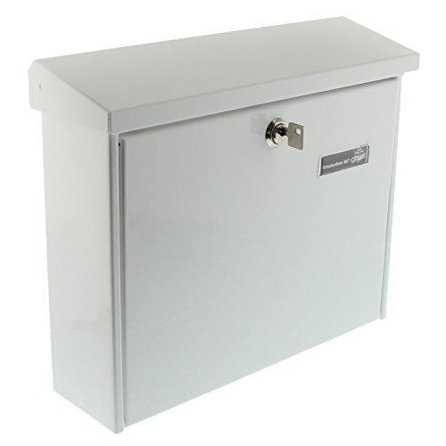Burg-Wächter Briefkasten mit Öffnungsstopp, A4 Einwurf-Format, Verzinkter Stahl, Amsterdam 867 W, Weiß
