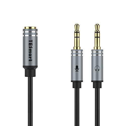 TESmart Headset Y Splitter Adapter, 3,5 mm Adapter Headset 2 auf 1 Kopfhörer und Micro 2 in 1 Adapter für PC/Laptop & mehr - 0,35 m(schwarz)