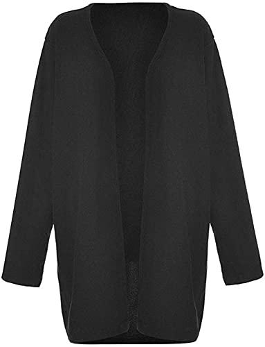 Abrigo de felpa de manga larga para mujer, Negro, XXL