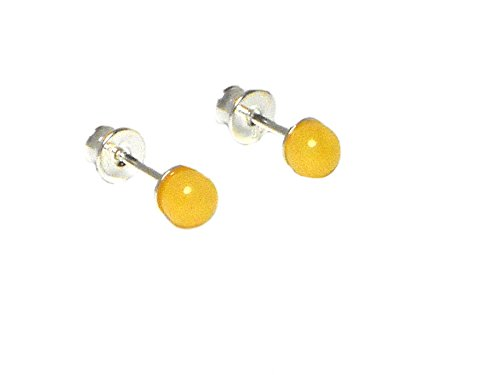 Butterscotch Bernstein Sterling Silber Edelstein Ohrringe/Ohrstecker 925–5 mm – (abst0606183)
