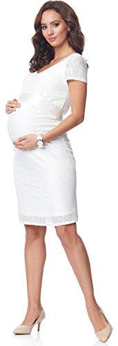 Bellivalini Damen Umstandskleid Kurze Ärmel Schwangerschaftskleid BLV50-108 (Ecru, M)