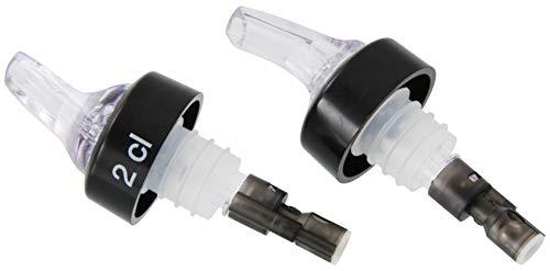 FMprofessional doseertuit, flessenschenktuit voor sterke dranken, jenever met stopfunctie (kleur: transparant, zwart), hoeveelheid: 1 x 2 stuks
