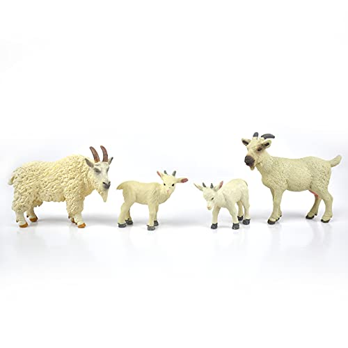 GUGELIVES Farm World Sheep Figurine with Sheep Cub  2-5  Plastic Safari Farm Goat Animal Toys  Zoo Birthday Party Supplies Educational Toy Cake Toppers Christmas Birthday Gift for Kids Toddlers