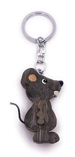 H-Customs Niedliche Maus stehend Tier Holz Edel Handmade Schlüsselanhänger Anhänger