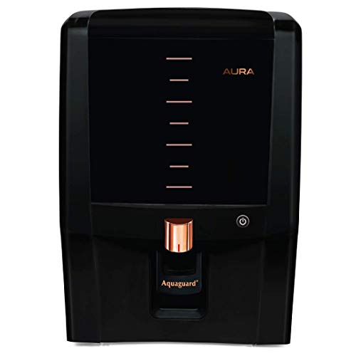 Aquaguard Aura 7L RO+UV e-boiling + MTDS water purifier with Active Copper & Mineral Guard Technology ,8 stages of Purification (Black & Copper)