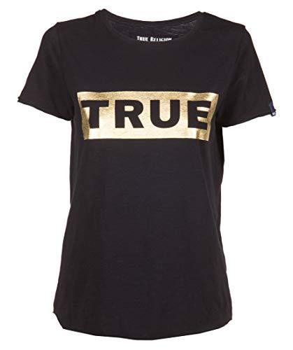 True Religion Damen Boxy True T-Shirt, Schwarz (Black 1001), 36 (Herstellergröße: S)