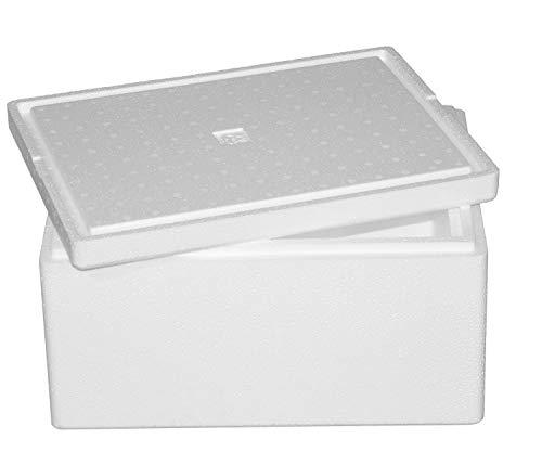 Thermobox, Styroporbox für Essen, Getränke & temperaturempfindliche Ware , Isolierbox aus Styropor mit Deckel , Maße: 40 x 30 x 21 cm , Wandstärke: 3 cm , Volumen: 12,3 L