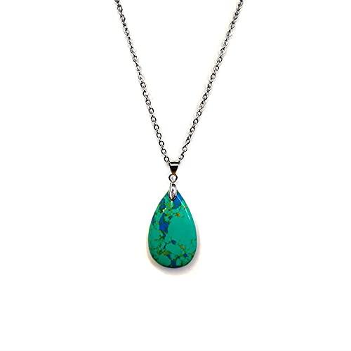 Collar con colgante de piedra turquesa natural de plata de acero cadena de gota de agua gema colgante collar regalos para las mujeres accesorios joyería