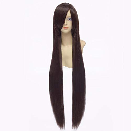 Longue perruque longue ligne droite perruque Anime Cosplay perruques de parti de cheveux de HongHu Fashion New brun foncé