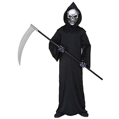 Widmann 55508 - Kinderkostüm Dämon, Tunika, holographische Totenkopfmaske mit Kapuze, Knochenhandschuhe, Grim Reaper, Sensenmann