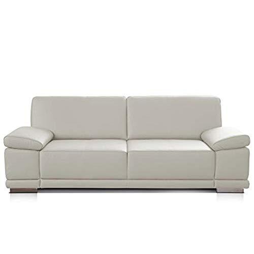 CAVADORE 3-Sitzer Sofa Corianne in Kunstleder / Ledersofa in hochwertigem Kunstleder und modernem Design /Mit Armteilverstellung / 217 x 80 x 99 / Kunstleder weiß