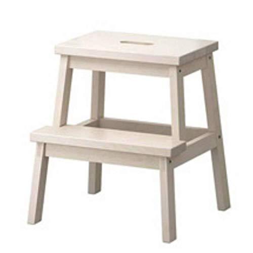 JXXDDQ Inicio Taburete multifuncional de madera maciza de dos pasos para aumentar el escalón taburete infantil de doble capa antideslizante escalera paso taburete (color: blanco)