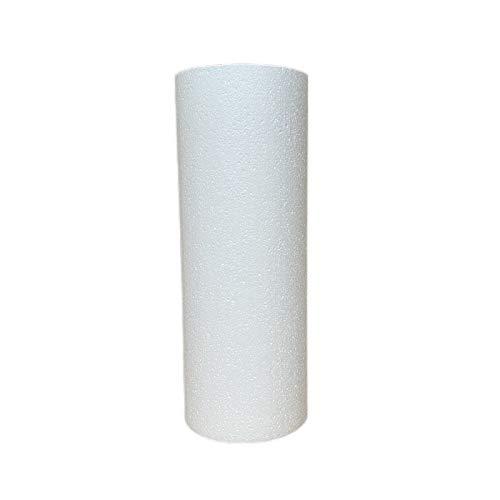 Lealoo Cylindre en polystyrène diam. 15 x Haut. 40 cm, Colonne en Styropor Blanc pour présentoir, de densité Pro, 28 kg/ m3