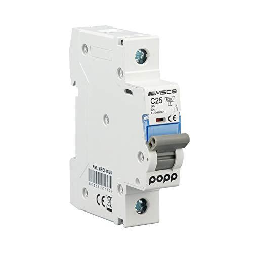 POPP® Interruptor Automático Magnetotérmico industrial CURVA C 1P 2P 3P + 6A 10A 16A 20A 25A 32A 40A 50A 63A … (1P, 25A)
