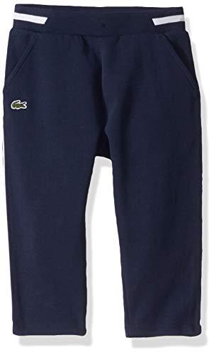 Lacoste Girls Pique Double Face Joggers Sweatpants, Navy Blue/Flour, 6YR