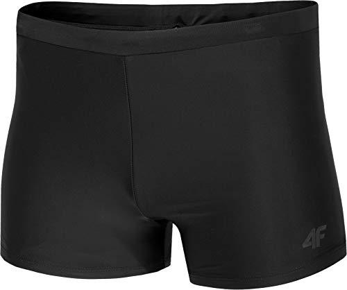 4F Zwembroek voor heren, korte zwemshorts met mesh binnenkant, zwembroek, zwembroek, boxershort, zwart, S - 3XL (zwart, S)
