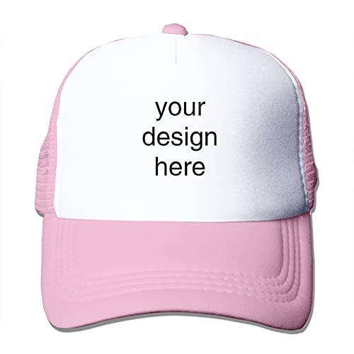 Logotipo personalizado del texto personalizado del casquillo de béisbol, diseñe su propio sombrero del camionero, sombreros del logotipo del equipo para los hombres y las mujeres, rosa, Talla única