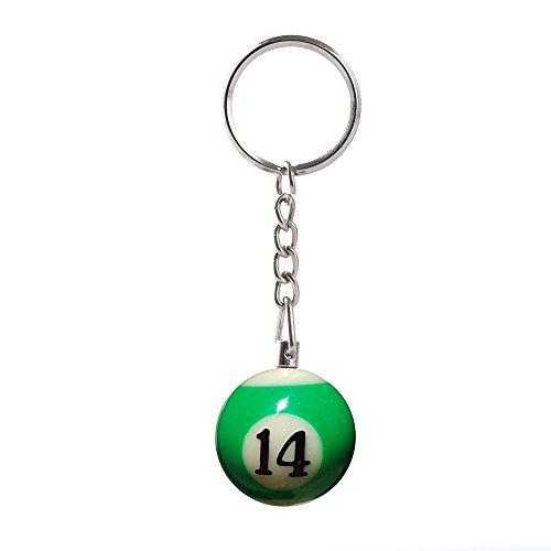 Komonee Pool Ball Schlüsselanhänger Schlüsselbund Grün Nummer 14