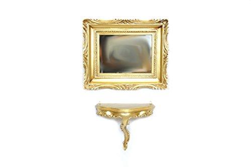 Ideacasa Mensola Consolle Dorata + Specchio Color Oro Stile Barocco Finto Vintage Luigi XVI