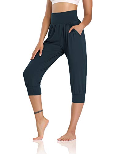 DIBAOLONG Womens Yoga Joggers Capri Loose Workout Sweatpants Comfy Lounge Pants with Pockets Navy S