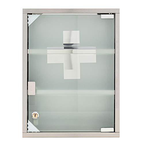 """Mack Medizinschrank Arzneischrank Medikamentenschrank Hausapotheke aus Edelstahl, 30 x 40 x12cm """"Tip –on"""" Automatik, Montagematerial und 2 Schlüssel Inclusive, 3 Fächer"""