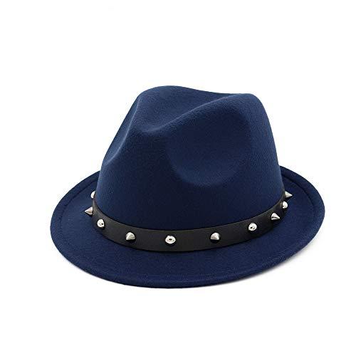 HuiLai Zhang Moda Mujer Hombres Lana Sombrero Fedora con Punk Remache Cinta Elegante Dama Fascinator Jazz Hat Talla 56-58 cm (Color : Drak Blue, Size : 56-58) (Ropa)