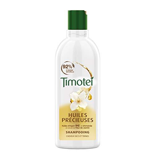 Timotei Shampoing Femme Huiles Précieuses, Huiles d'Argan Bio et d'Amande, Extrait de Fleur de Jasmin, Idéal Pour les cheveux secs et ternes 300ml