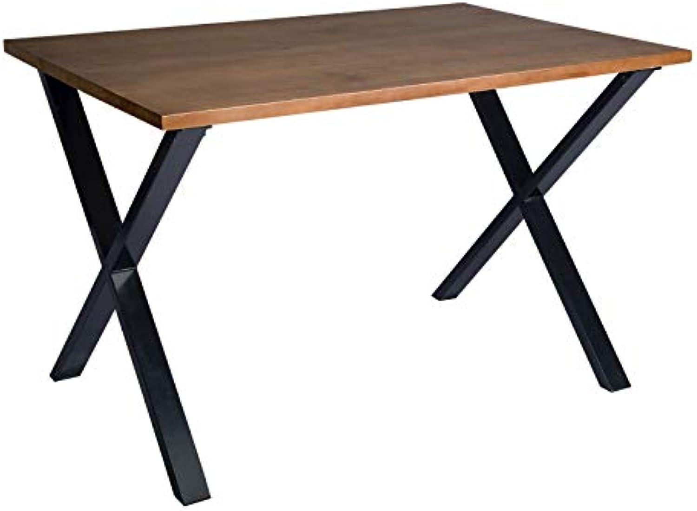 WOLTU BT18ei Esszimmertisch Baumkantentisch Esstisch Küchentisch Holztisch aus Massivholz und Metall, 120x80x76cm(BxTxH), Eiche