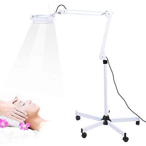 Ejoyous Lámpara de Aumento LED 5X lámpara de Aumento cosmética, lámpara cosmética de pie, lámpara de luz con Soporte rodante y Brazo de Soporte Ajustable para Tatuaje de salón de Belleza EU 110-120V