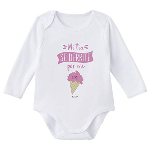SUPERMOLON Body bebé manga larga Mi tía se derrite por mi Blanco algodón para bebé 0-3 meses