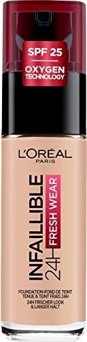 L'Oréal Paris Infaillible 24H Fresh Wear Make-up 25 Rose Ivory, hohe Deckkraft, langanhaltend, wasserfest, atmungsaktiv, 30ml