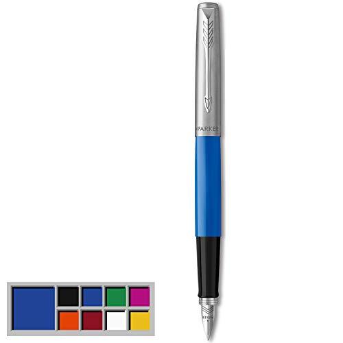 Parker Jotter Originals Pluma Estilográfica, Acabado Azul Clásico, Plumín Mediano, Tinta Negra Y Azul